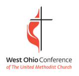 West Ohio conference/ United Methodist logo of cross and flame